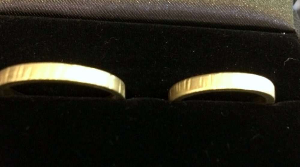 Handmade Gold wedding rings hallmarked as 750 which is 18ct.