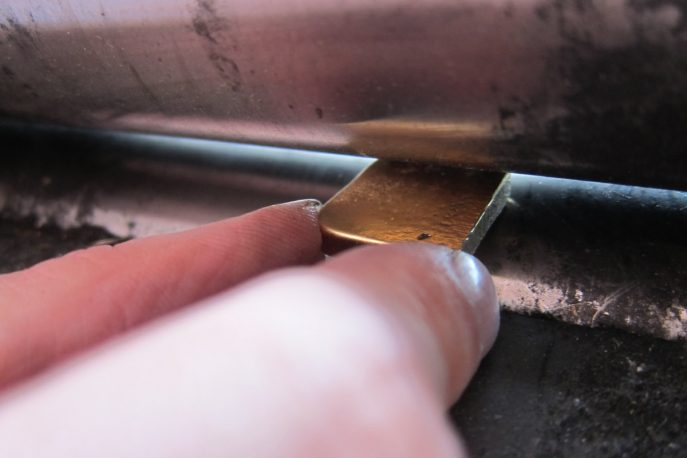 Gold put through the rollers to flatten down to 2mm.